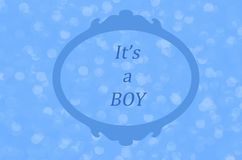 It`s a boy, baby boy birth announcement. Baby shower, gender reveal or baptism notice Stock Images
