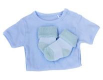 It's a boy- baby clothes Stock Photos