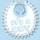 It`s a boy baby shower on bib Royalty Free Stock Images