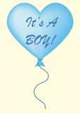 It's A Boy Balloon. Baby blue It's a boy balloon on a pastel yellow background Royalty Free Stock Images