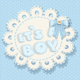 It`s a boy blue baby shower with bow Royalty Free Stock Photos