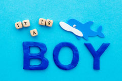 It`s a Boy - on blue background Royalty Free Stock Image