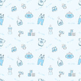 It's a boy - blue seamless background. Seamless background with baby elements Stock Photo