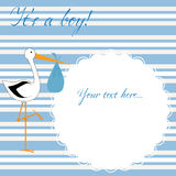 It's a boy! - blue stripes. Baby boy arrival announcement card Stock Photos