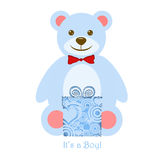 It's a Boy Blue Teddy Bear with Gift Stock Photos