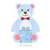 It's a Boy Blue Teddy Bear with Gift. It's a Boy Blue Teddy Bear with Present Illustration Stock Photos