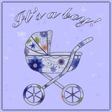 It's a boy card with baby carriage Royalty Free Stock Photos