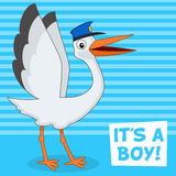 It's a Boy Card with Happy Stork with Hat Royalty Free Stock Photos