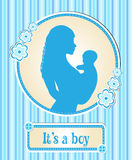 It's a boy . card with a newborn baby, the silhouette of a mother and child, congratulations on the birth of a vector Stock Images