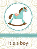 It`s a boy card with rocking horse Royalty Free Stock Photo
