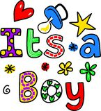 It's a Boy Cartoon Text Clipart Royalty Free Stock Photos