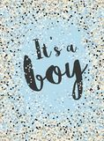 It`s a Boy. Cute Baby Shower Vector Illustration. Tiny Confetti on a Blue Background. Dark Grey Letters. Light Blue Background. Small Round Shape Confetti. Dark stock illustration