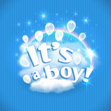 'It's a Boy' greeting card with balloons, clouds and rainbow. Vector illustration. Stock Photo