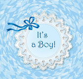 It's a boy greeting card. Vintage frame. Royalty Free Stock Photos