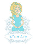 It's A boy! - pregnant woman card Royalty Free Stock Photo