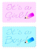 It's a boy, it's a girl. Vector illustration consists of two back to announce the birth of a child or a child, decorated with small pencils Royalty Free Stock Image