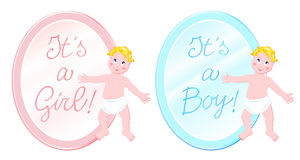 It's a boy, it's a girl. Vector illustration of two back to announce a birth, decorated with the figure of the infant and an oval with the inscription It's a boy Stock Photos