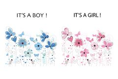 It`s a boy. It`s a girl. Baby shower greeting card. Floral greeting card. Pink and blue colored abstract decorative spring flowers. Backgroundn vector illustration