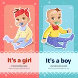 It s a boy and It s a girl illustration for newborn baby shower greeting card design stock illustration