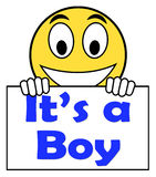 It's A Boy On Sign Shows Newborn Male Baby Royalty Free Stock Image