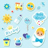 It`s a boy stickers set in blue colors. Kids, children design elements for scrapbook. Decorative vector icons with newborn symbol. S for baby shower and other Stock Image
