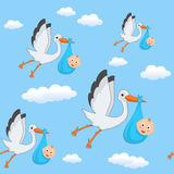 It's a Boy Stork Flying Seamless Pattern Royalty Free Stock Photos