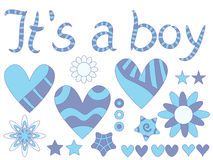 It's a boy - text, hearts, stars and flowers Royalty Free Stock Photos