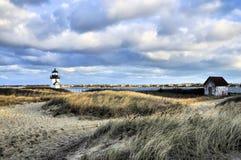 ` S Brant Point Lighthouse di Nantucket fotografie stock