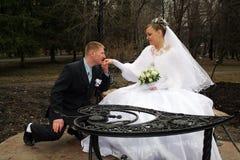 `S Braut des Bräutigams küssende Hand Lizenzfreie Stockfotos
