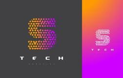 S Brief Logo Technology Verbonden Dots Letter Design Vector Stock Afbeelding