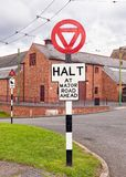 1940s British Road Signs. 1940s British halt and steep gradient road signs on display at the Black Country Living Museum in Dudley, West Midlands, England stock image