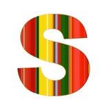 S-Buchstabe in den bunten Linien auf weißem Hintergrund Stockbilder
