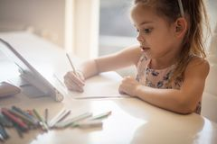 She`s a budding young artist royalty free stock photography