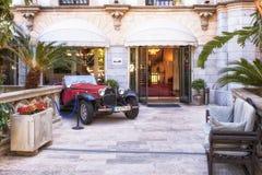 1930s Bugatti Convertible, Soller, Mallorca. 1930s Bugatti Convertible or Roadster on show outside the main entrance to the Gran Hotel in Soller, Mallorca Stock Image