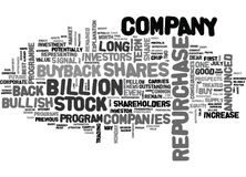 It S A Bullish Signal When A Company Buys Back It S Own Shares Word Cloud Concept Royalty Free Stock Image