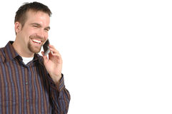 He's Calling. Happy man on cell phone talking Stock Photography