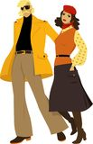 1970s casual fashion. Stylish couple dressed in 1970s everyday fashion, EPS 8 vector illustration. No actual clothes design was used, drawn from imagination royalty free illustration