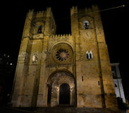Se Cathedral at night in Lisbon Royalty Free Stock Photo
