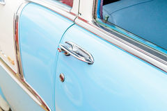 1950's Chevy BelAir door handles. Fully restored blue and white Chevrolet BelAir Stock Image