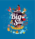 It's a Christmas big sale on the blue background. Christmas big sale on the blue background, sale poster, flyer royalty free illustration