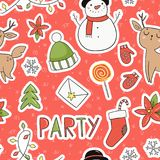 80s Christmas party seamless pattern. 