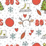 80s Christmas party seamless pattern Royalty Free Stock Photography
