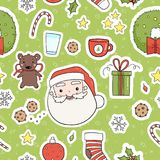 80s Christmas party seamless pattern Royalty Free Stock Photo