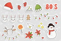 80s Christmas party sticker set. Royalty Free Stock Image