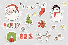80s Christmas party sticker set. Royalty Free Stock Photo