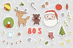 80s Christmas party sticker set. Royalty Free Stock Images
