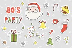 80s Christmas party sticker set. Stock Photography