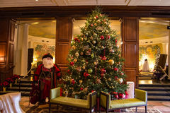 """It's Christmas Time at the """"The Hotel Roanoke"""". Roanoke, VA - November 28th: A beautiful large Christmas tree in the lobby of """"Hotel royalty free stock images"""