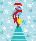 Little bird wants be Santa Claus royalty free illustration