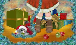 It's Christmas! Would you like to play with me?. Friendship between a little girl and her cat at Christmas ( kitty's perspective Royalty Free Stock Photo